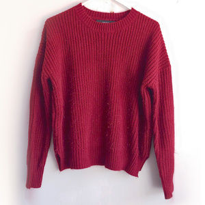 Chunky Ribbed Knit Sweater Boxy Trim Scoop Crew S